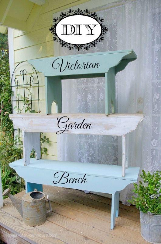 DIY Victorian Farmhouse Garden Bench, plans included in post,  FlowerPatchFarmhouse.com