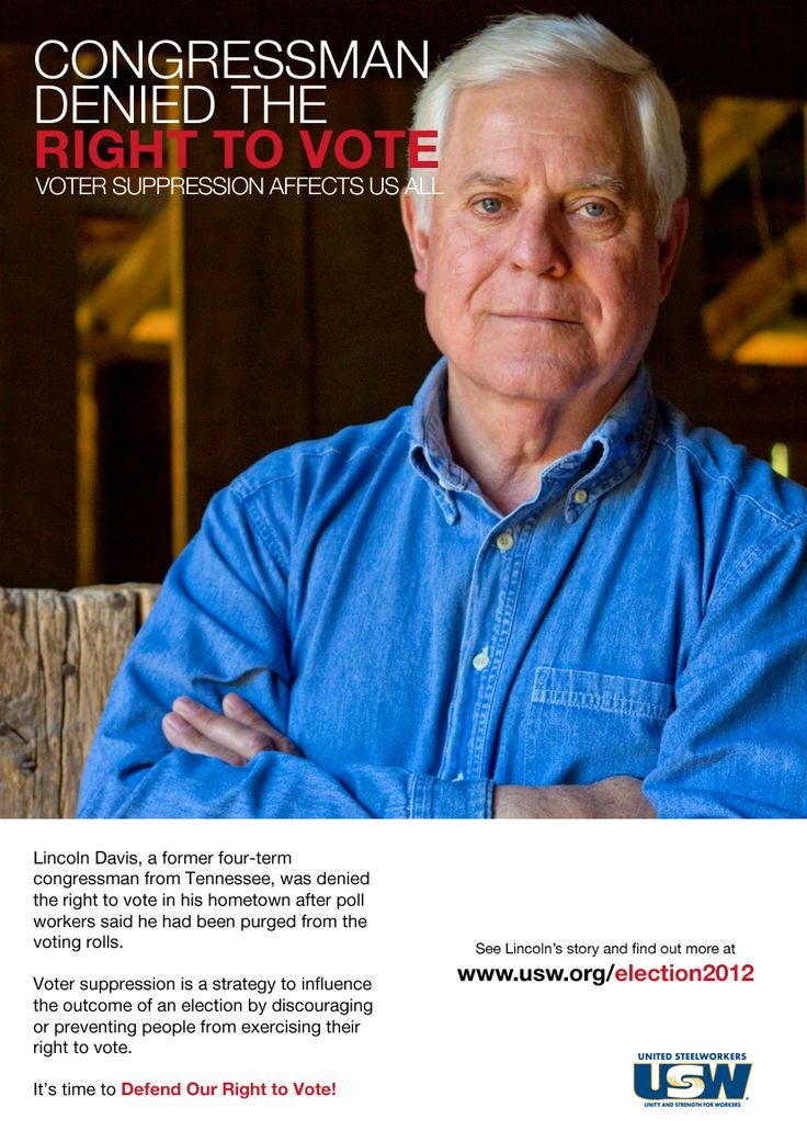 Lincoln Davis was denied the right to vote in the town he represented for four terms in congress. See Lincoln's story and find out more at www.usw.org/election2012    #election2012 #votersuppression