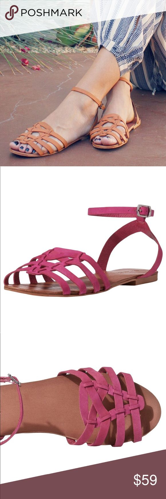 "Pink Open-Toe Leather Slingback Sandal Leather Color: Fuchsia Pink Measurements: 0.5"" heel Width: B(M) Imported by Matisse X Anthropology Anthropologie Shoes Sandals"