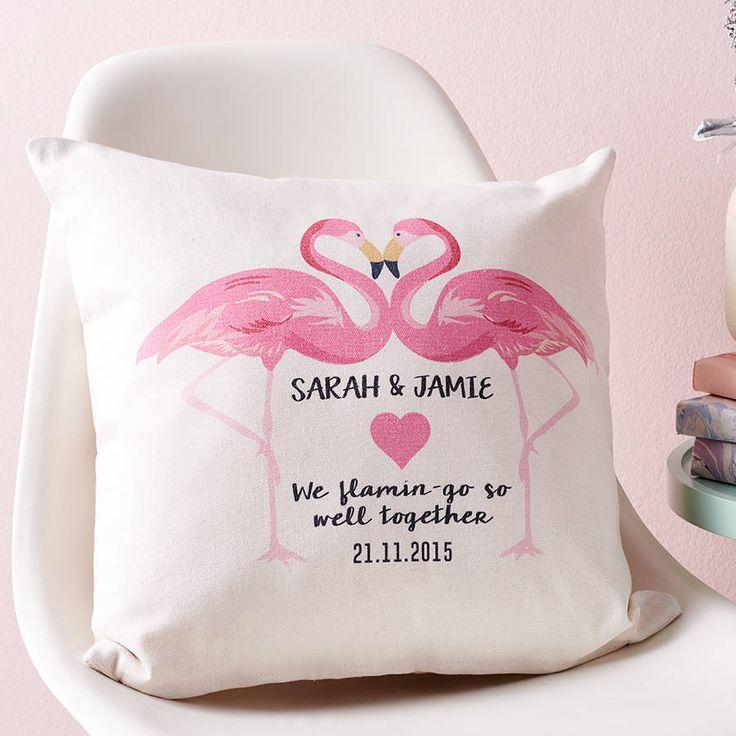 Personalised Flamingo Couples Cushion