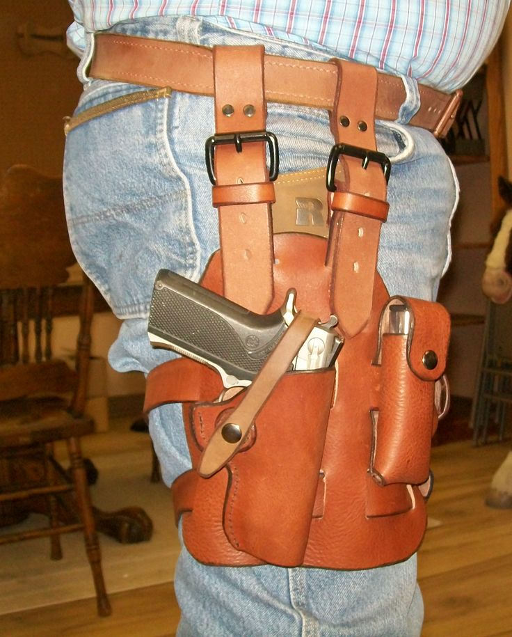 Leather tactical holster made at Boulder Creek Saddle Shop in Kettle Falls, WA.