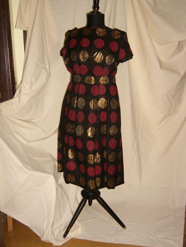 COCKTAIL DRESS in Wool and Lamè - 1950  / ABITO DA COCKTAIL in Lana e Lamè - 1950