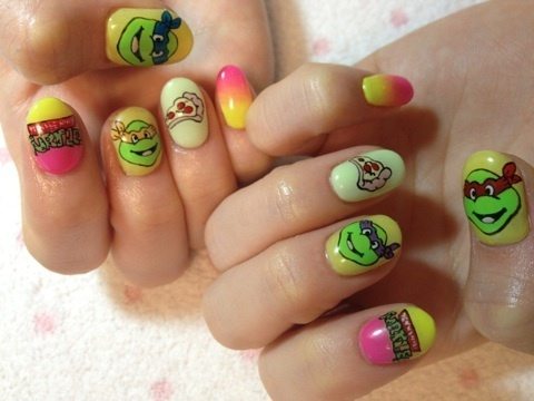 ninja turtle nails  pizza TMNT  nailart