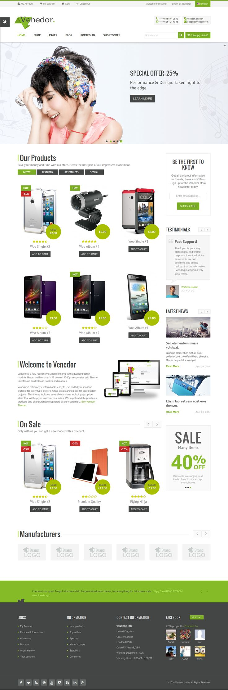 Venedor is Ultimate Multi-Purpose WordPress Theme that is extremely customizable, easy to use and fully responsive. Suitable for every type of business, portfolio, blog and ecommerce sites. Great as a starting point for your custom projects. Venedor includes 5 different skins and its very beautiful on mobile devices. on