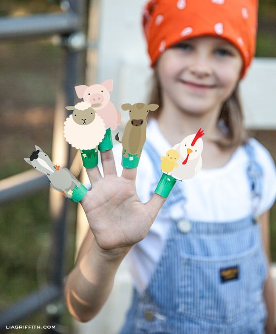 crafts for kids: Printable Farm Animal Finger Puppets || Lia Griffith