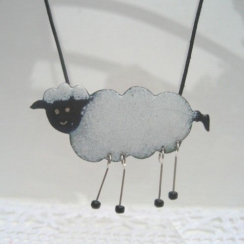 Sheep with dangly legs pendant - enamelled £25.00
