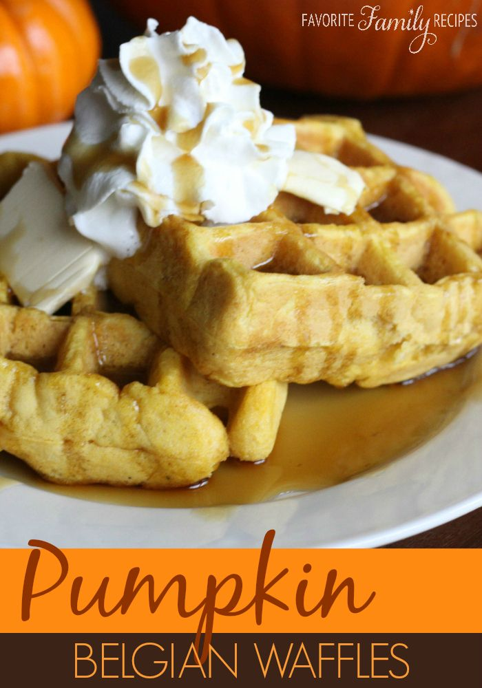 Pumpkin belgian waffle recipe. These are SUPER easy to make and DELICIOUS!  #pumpkinwaffles #belgianwaffles... I always use the Krusteaz brand Belgian waffle mix, so this recipe was a good find! I cut the recipe in half, and skimped on the waffle mix a tad. SO GOOD! I'll be making these again for sure!