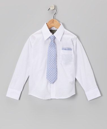 Take a look at this White & Blue Shirt Set - Infant, Toddler & Boys by Angels New York on #zulily today!