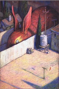 Limited edition print of 'The Red Sock' by Shaun Tan from 'Tales from Outer Suburbia.' Books Illustrated. http://www.booksillustrated.com.au/bi_prints_indiv.php?id=24_id=436