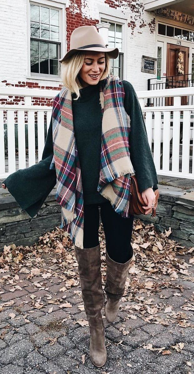 #fall #outfits women's grey, pink, and green plaid scarf and fedora hat