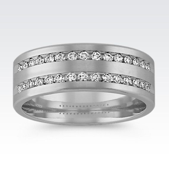 Lovely Double Row Round Diamond Ring with Brushed Finish