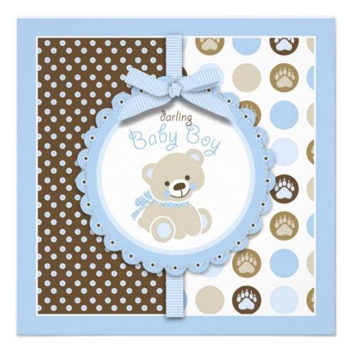 Welcome Bear Boy Baby Shower Invitation.  $2.15