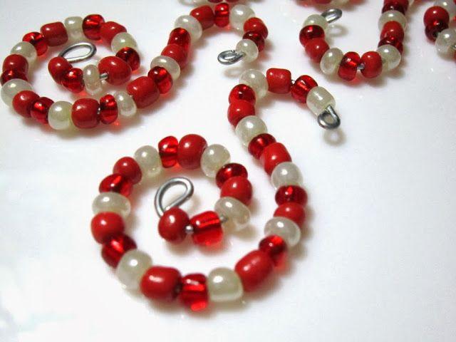 S is for Santa Spiral Beaded Ornament Hooks