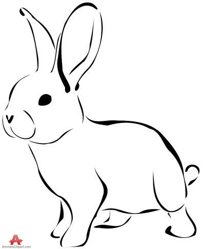 Bunny Black And White Animals Clipart Of Bunny With The Keywords