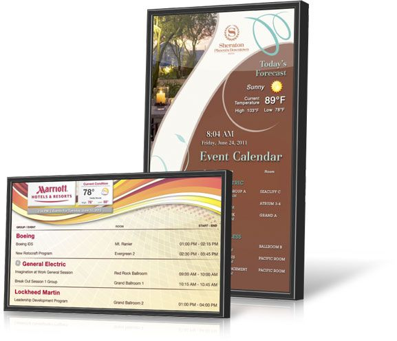 Janus Displays digital signage strengthens engagement with guests. Event listings, wayfinding, reservations, flight info, advertising, directories and more.