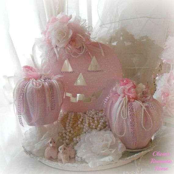 Pink Princess Sparkling Pink Shabby Chic Halloween Glitteed Pumpkin rose bridal lace Lace Bow Floral Marie Antoinette Victorian  SCT