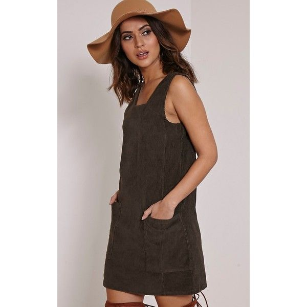 Staci Khaki Cord Pinafore Dress-6 (22 CAD) ❤ liked on Polyvore featuring dresses, green, green dress, a line dress, khaki green dress, green pinafore dress and basic tee shirts
