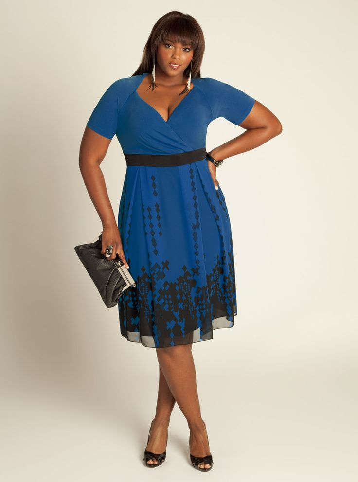 Plus Size Deco Dress in French Blue