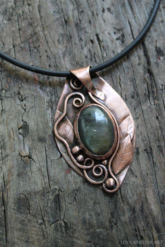 Copper pendant metalwork necklace metalsmith от LenaSinelnikArt
