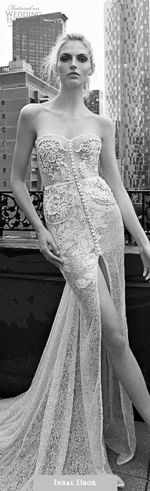 inbal dror 2016 strapless sweetheart sheath lace wedding dress embellished bodice button slit skirt train style 01 #sheath #sheathweddingdress #weddingdress #weddings #wedding