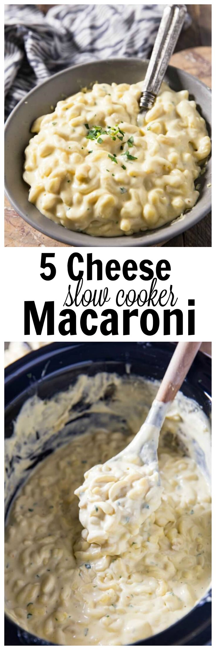 This slow cooker mac and cheese is made with 5 Wisconsin cheeses and is easy and delicious and oh so creamy. #ad
