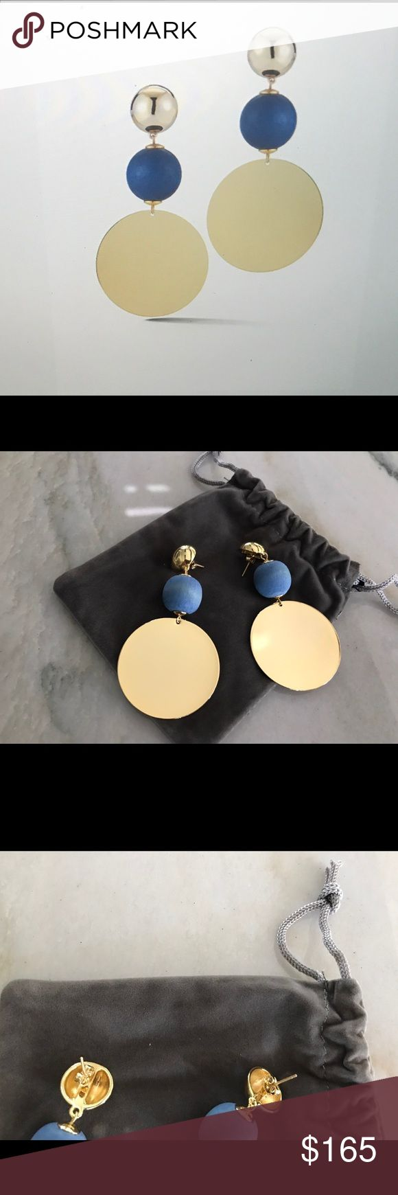 """Jennifer Miller Disk Drop Earrings Brand new. Have receipt. Never have been worn are a pair of Jennifer Miller Disk Drop Earrings.  Details Sphere, Blue wood bead, and Disk triple Drop Earrings. Yellow Gold Plated. Pierced. 3""""Long Jennifer Miller Jewelry Jewelry Earrings"""