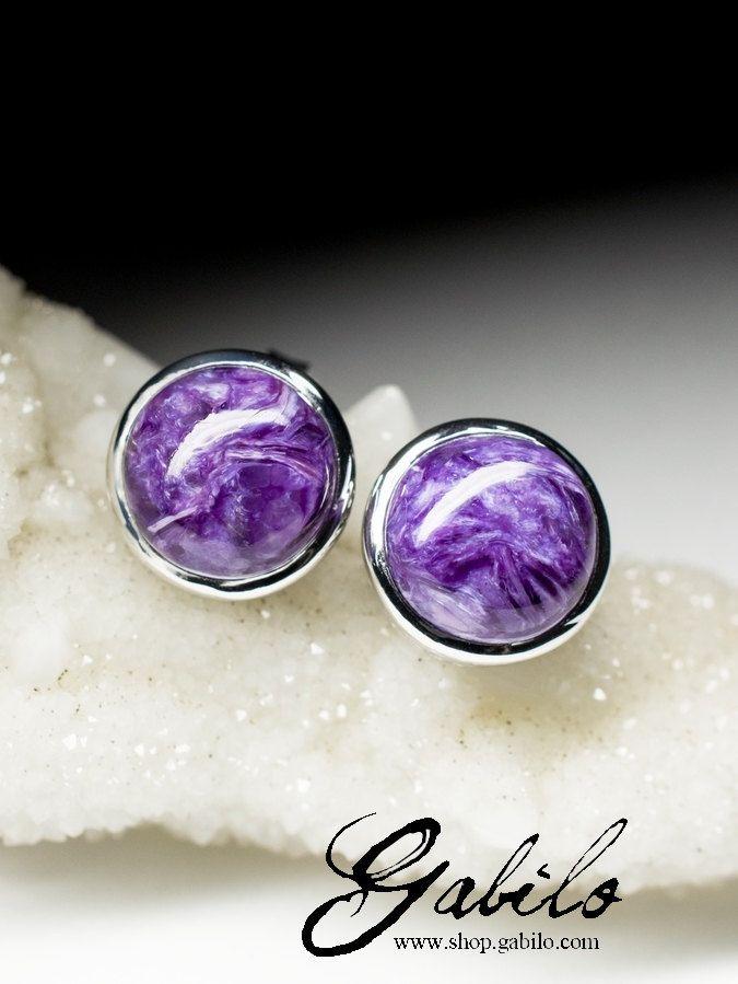Charoite Silver Stud Earrings art 9358 | Natural Russian Organic Charoite Gemstone Sterling Silver Earrings Fine Jewelry by Gabilo on Etsy