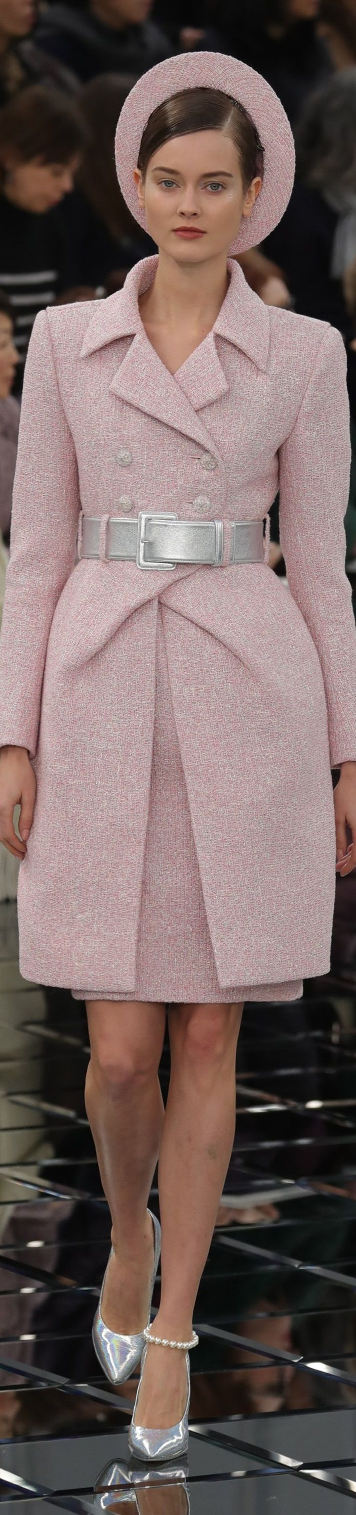Chanel S-17 Couture: pink tweed crossed coat.