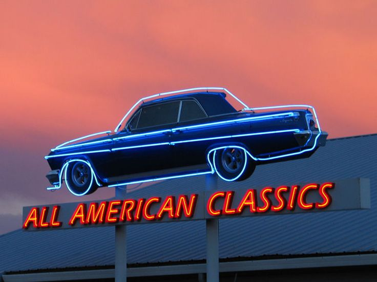 neon sign at sunset