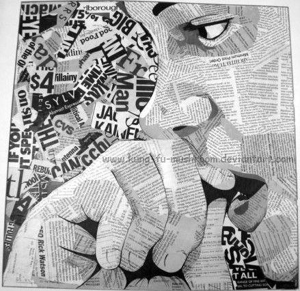 Maak een collage van een (zelf) portret. Zoek een foto en druk deze af op het juiste formaat. Neem alle belangrijke lijnen en schaduwpartijen over met potlood. Ga uit van 4 grijstinten. Vul de vlakken met beeldmateriaal in de juiste tint.