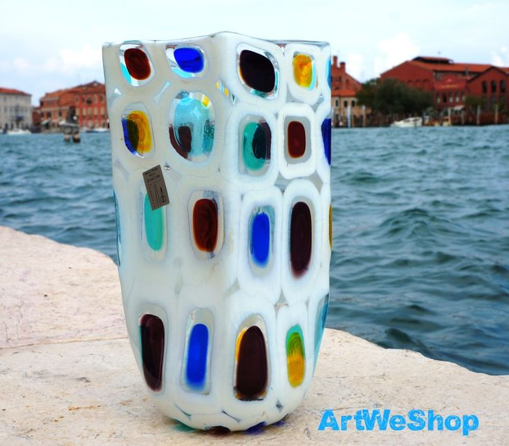 Glass Vase, White Wedding Gift for the Couple, Colorful Flower Vase, Real Murano Glass Vase, Hand Blown Art Glass Vase Made in Murano, Italy by ArtWeShop on Etsy