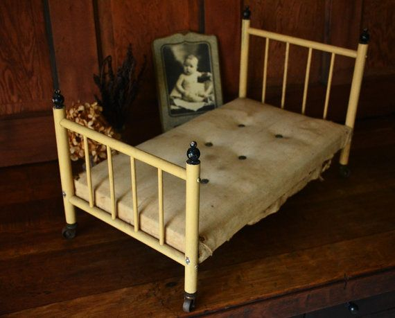 Antique Baby Doll Old Toy Four Poster Bed Primitive Wood Head