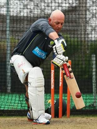 Set for a call-up? Darren Lehmann gets in the nets during Australia's training session at Hove