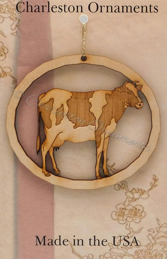 Engraved Wooden Cow Ornament FREE PERSONALIZATION, Cow Christmas Ornament, Cow Gift Topper, Cow Decor