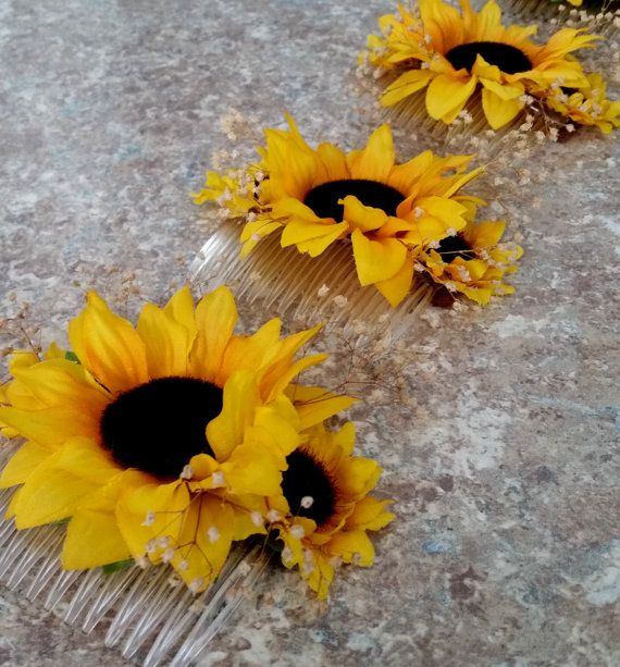 Bridal Sunflower hair Comb babys breath by BudgetWeddingBouquet