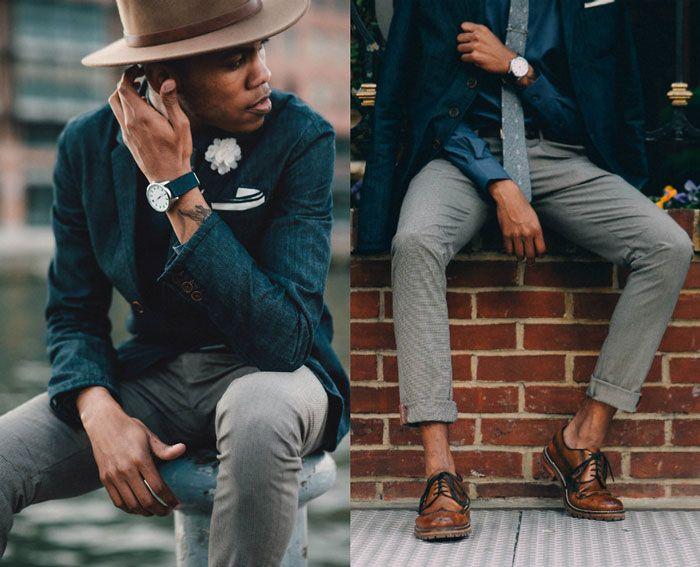O chapéu fedora também combina com o esporte fino. Em tom de marrom e com um blazer azul escuro. Ficou bem elegante incrementando o visual.