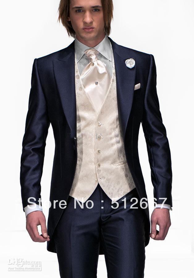 2014 cheap groom tuxedos latest style navy blue - Smoking Mariage Hugo Boss