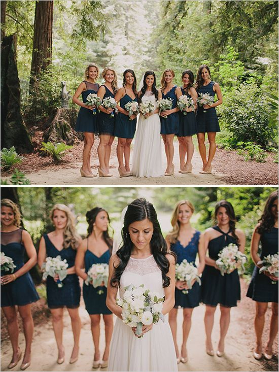 mix and match navy blue bridesmaids | forest wedding ideas | rustic wedding | #weddingchicks