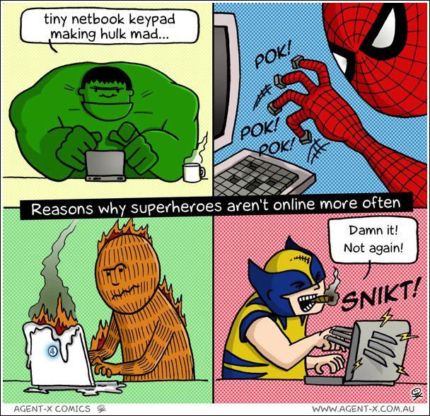 Heroic computer problemsSocial Network, Superhero Arenal T, Comics Book, Arenal T Online, Dc Comics, Hulk Smash, Superheroes, Super Heroes, Marvel Heroes