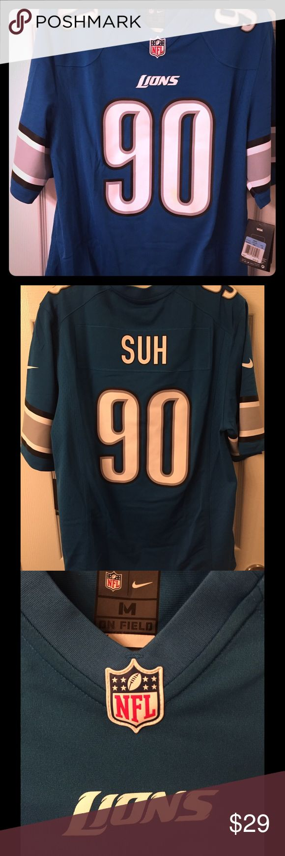 Detroit Lions SUH Football Jersey - Unisex 🆕 Official Nike NFL Jersey Men's/Women's On Field 100% Polyester Nike Shirts