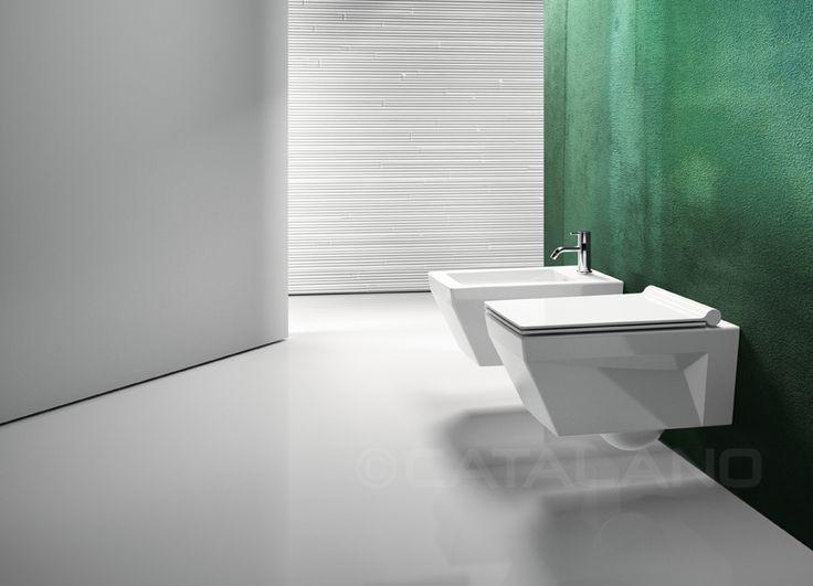 Star wc/bidet 55_Wall-hung WC with concealed fixings. 4,5 lt flush. Wall-hung single-hole bidet bidet with concealed fixings.