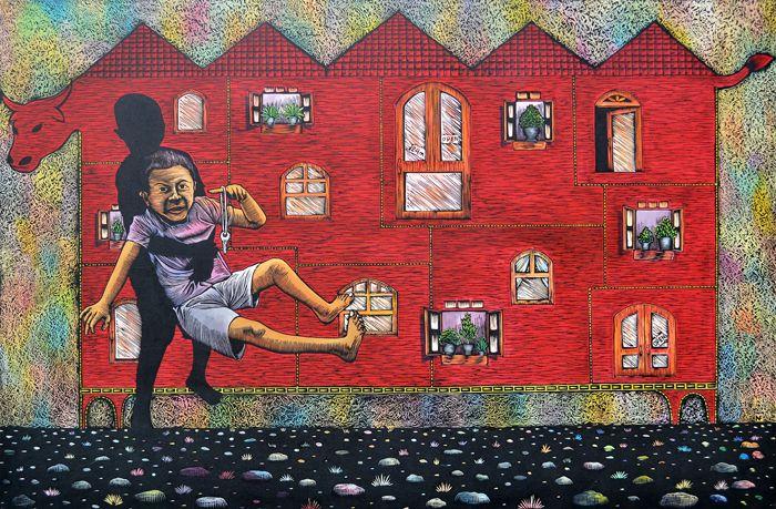 Nofrizaldi My palace Hardboard cut and kolase on canvas 190x125cm 2013