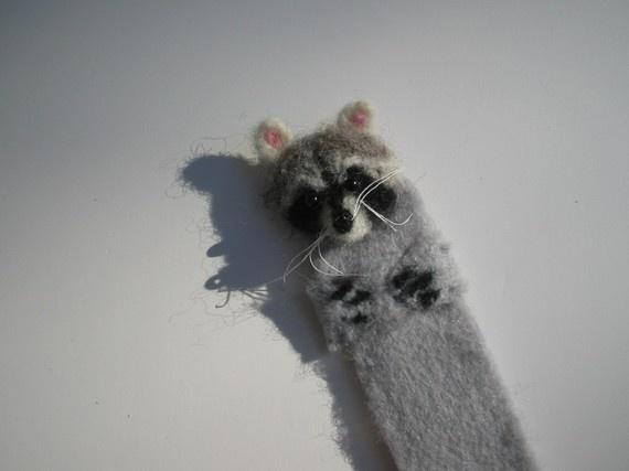 Raccoon needle felted bookmark
