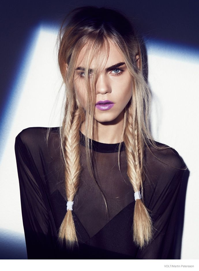 "maybelline: ""Badass braids and purple lips. """