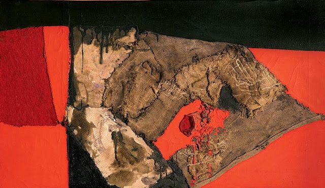 Alberto Burri  1955 Sacco Nero Rosso sack, canvas, fabrics, paper, acrylics, polyvinyl acetate on canvas treated with polyvinyl acetate 50 x 85 cm © 2013 Artists Rights Society (ARS), New York/SIAE, Rome / 2013 DACS