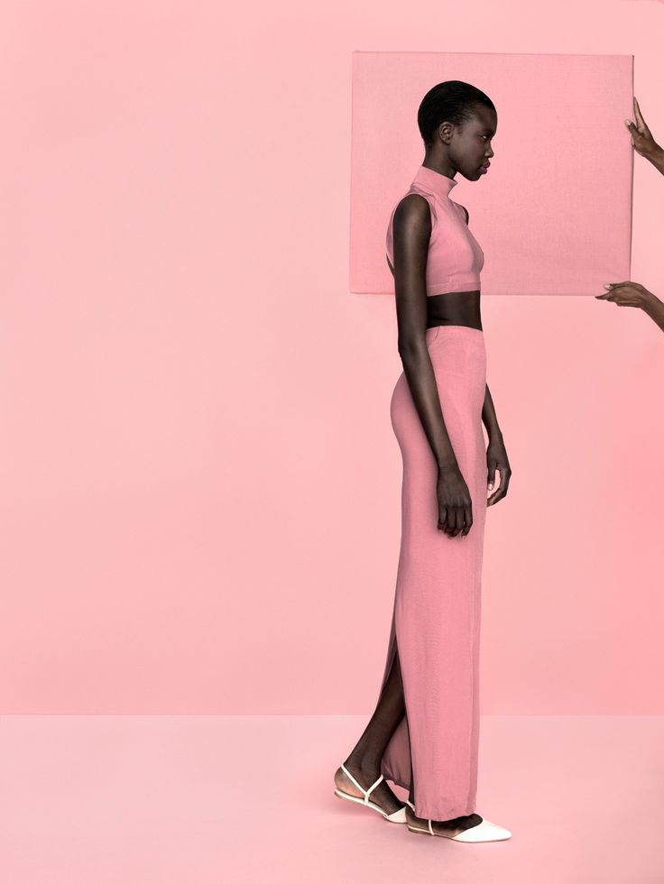 pink everywhere | pink sleeveless turtleneck crop top | long pink skirt with back slit | white strappy, pointed flats | love the contrast | Nykhor Paul | Kasia Bielska | Lab Magazine