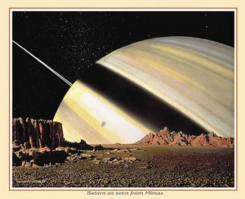 Saturn as Seen from Mimas by Chesley Bonestell: Bonestel Paintings, Spaces Exploring Before, Fantasy Art, Scifi, Chesley Bonestel, Science Fiction, Spaces Art, Mima, Outer Spaces