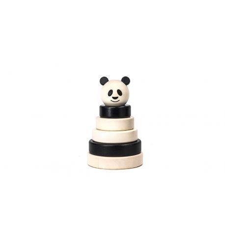~ Panda stapeltoren ~ Leuke houten stapeltoren in de zwarte witte kleuren van de pandabeer. Geschikt voor kinderen vanaf 2 jaar. Bajo 39390