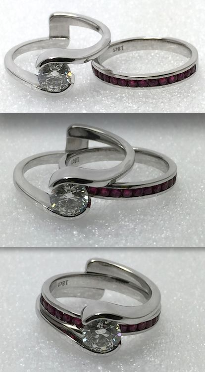 Wedding and engagement ring set.  Ruby wedding band and diamond engagement ring.  Or wear it as a mood ring and change the inside band to suit your outfit