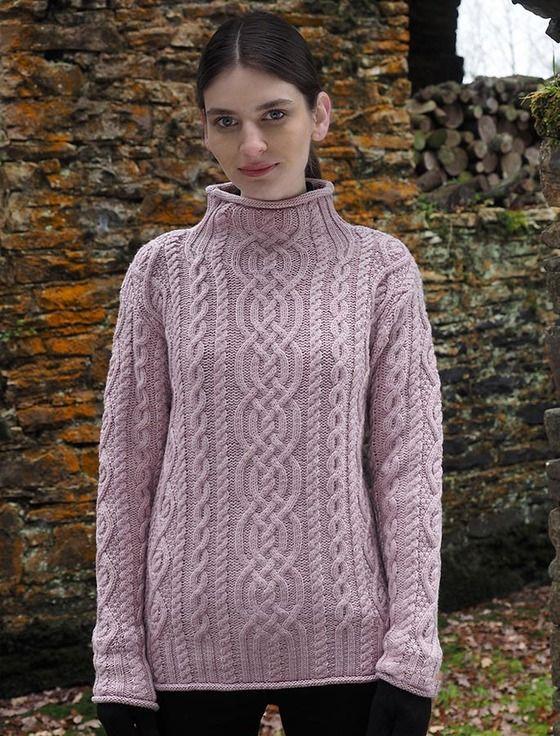 156b3f0c3a71 Super Soft Aran Roll Neck Sweater
